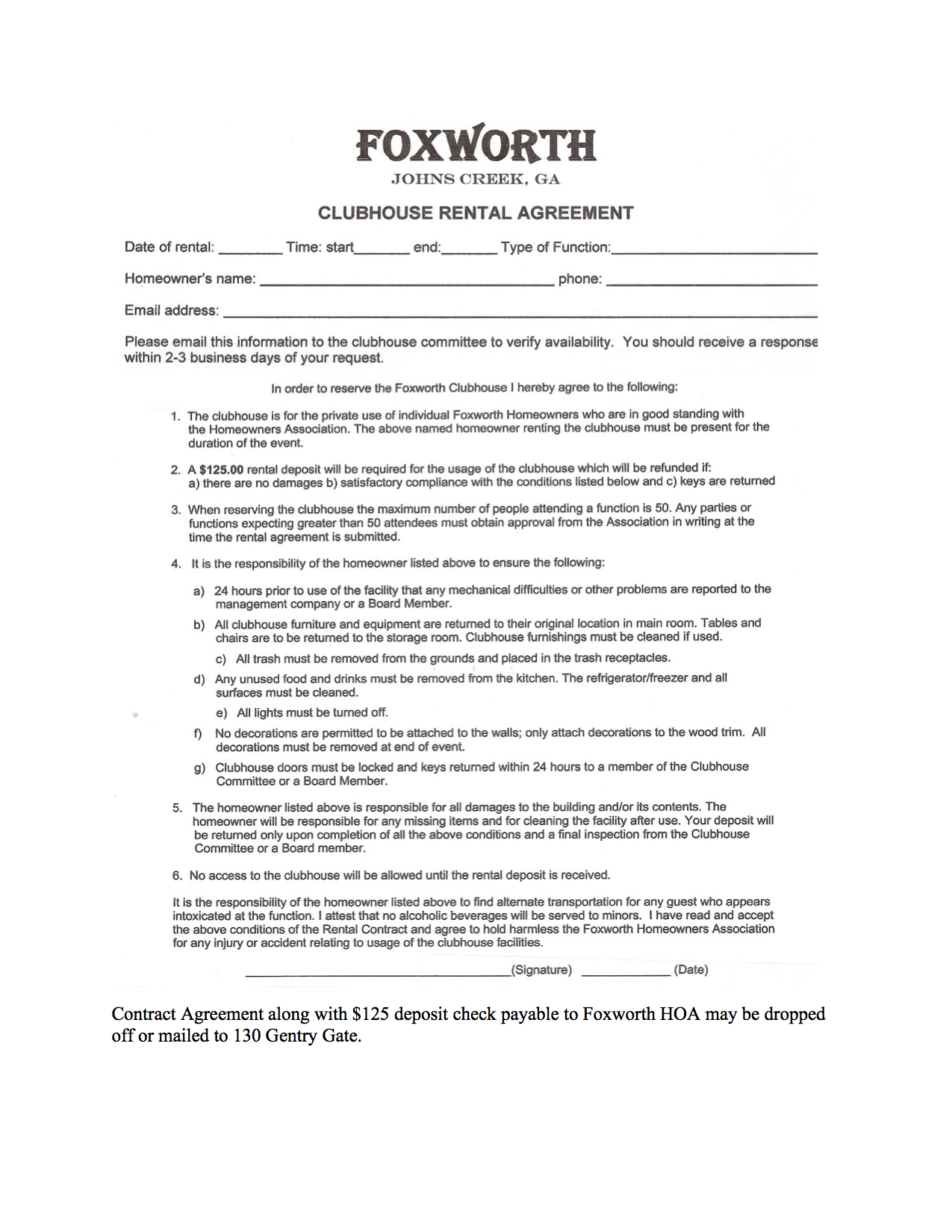 Clubhouse Rental Agreement Foxworth